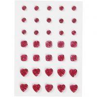 Akryylitimantit, pyöreä, neliö, sydän, koko 6+8+10 mm, pinkki, 35 kpl/ 1 pkk