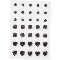 Akryylitimantit, pyöreä, neliö, sydän, koko 6+8+10 mm, musta, 35 kpl/ 1 pkk