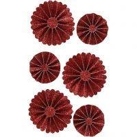 Paperirosetit, halk. 35+50 mm, glitter punainen, 6 kpl/ 1 pkk