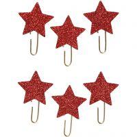 Liittimet, Tähti, halk. 30 mm, glitter punainen, 6 kpl/ 1 pkk