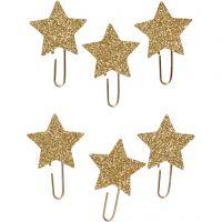 Liittimet, tähti, halk. 30 mm, glitter kulta, 6 kpl/ 1 pkk