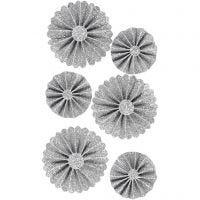 Paperirosetit, halk. 35+50 mm, kimallehopea, 6 kpl/ 1 pkk
