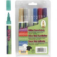 Deco tekstiilitussit, paksuus 3 mm, glitter värit, 6 kpl/ 1 pkk