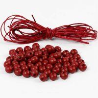 Puuhelmet ja puuvillanyöriä, halk. 8 mm, punainen, 1 set