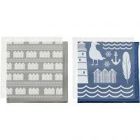Koristefolio ja siirtoarkki, Majakka, 15x15 cm, sininen, hopea, 2x2 ark/ 1 pkk