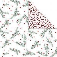 Kuviopaperi, Kuusen oksa ja pisteet, 30,5x30,5 cm, 180 g, kulta, vihreä, punainen, valkoinen, 3 ark/ 1 pkk