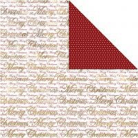 Kuviopaperi, Hyvää joulu ja pisteet, 30,5x30,5 cm, 180 g, kulta, 3 ark/ 1 pkk