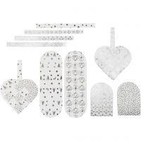 Punotut sydämet, koko 12,5x11,5 cm, 120 g, hopea, valkoinen, 8 set/ 1 pkk