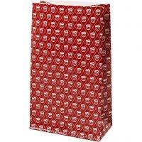 Paperipussi, Rumpu, Kork. 21 cm, koko 6x12 cm, 80 g, punainen, valkoinen, 8 kpl/ 1 pkk