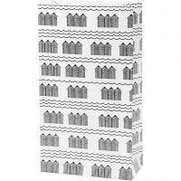Paperipussi, Kork. 21 cm, koko 6x12 cm, 80 g, musta, valkoinen, 8 kpl/ 1 pkk