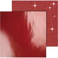 Kuviopaperi, 30,5x30,5 cm, 120+128 g, punainen, 2 ark/ 1 pkk