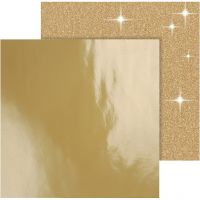 Kuviopaperi, 30,5x30,5 cm, 120+128 g, kulta, 2 ark/ 1 pkk