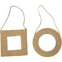 Pahvikehykset, neliö ja pyöreä, koko 7 cm, 6 kpl/ 1 pkk