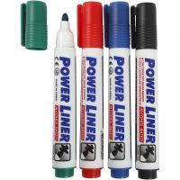 Valkotaulutussit, paksuus 4 mm, musta, sininen, vihreä, punainen, 4 kpl/ 1 pkk