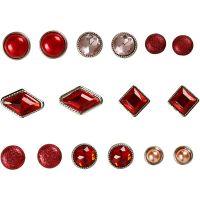Koristeniitit, koko 8-18 mm, punainen, 16 kpl/ 1 pkk