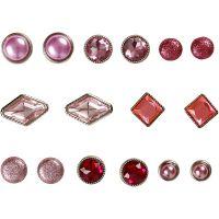 Koristeniitit, koko 8-18 mm, pinkki, 16 kpl/ 1 pkk