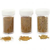 Mini lasihelmilajitelma, koko 0,6-0,8+1,5-2+3 mm, kulta, 3x45 g/ 1 pkk