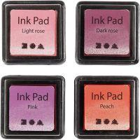 Leimasintyyny, Kork. 2 cm, koko 3,5x3,5 cm, persikka, pinkki, vaaleanrosa, tummanrosa, 4 kpl/ 1 pkk