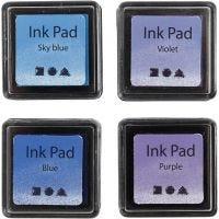 Leimasintyyny, Kork. 2 cm, koko 3,5x3,5 cm, sininen, taivaansininen, violetti, violet, 4 kpl/ 1 pkk