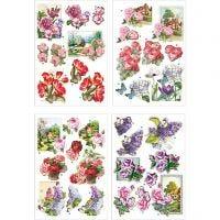 3D-kuvat, kukat ja perhoset, 21x30 cm, 4 ark/ 1 pkk