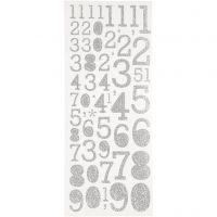 Kimalletarrat, numerot, 10x24 cm, hopea, 2 ark/ 1 pkk