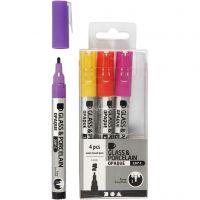 Lasi- ja posliinitussi, paksuus 1-2 mm, läpikuultavat, oranssi, violetti, vaaleanpunainen, keltainen, 4 kpl/ 1 pkk