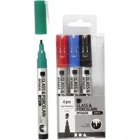 Lasi- ja posliinitussi, paksuus 1-2 mm, läpikuultavat, musta, sininen, vihreä, punainen, 4 kpl/ 1 pkk