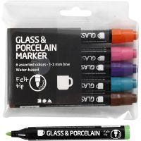 Lasi- ja posliinitussi, paksuus 1-3 mm, läpikuultavat, Lisävärit, 6 kpl/ 1 pkk