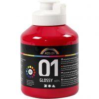 Koulu akryylimaali kiiltävä, kiiltävä, peruspunainen, 500 ml/ 1 pll