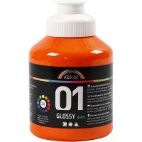 Koulu akryylimaali kiiltävä, kiiltävä, oranssi, 500 ml/ 1 pll