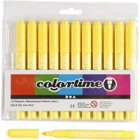 Colortime-tussit, paksuus 5 mm, sitruunankelt, 12 kpl/ 1 pkk