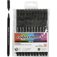Colortime Fineliner, paksuus 0,6-0,7 mm, musta, 12 kpl/ 1 pkk
