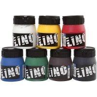 Linoväri, värilajitelma, 7x250 ml/ 1 pkk