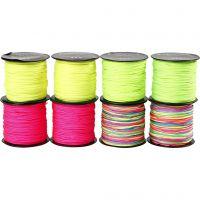 Makrameenyöri, paksuus 1 mm, neonvihreä, neonpinkki, neonkeltainen, neonmix, 8x28 m/ 1 pkk