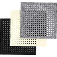 Huopa-arkki, rei'itetty, koko 20x20 cm, paksuus 3 mm, musta, harmaa, luonnonvalkonen, 3x4 ark/ 1 pkk