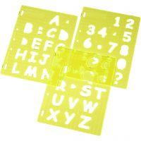 Muotosabloni, Isot kirjaimet & numerot, Kork. 4 cm, 21x28 cm, 1 set