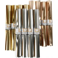 Nahkapaperi, Lev: 49 cm, paksuus 0,55 mm, yksi värillinen,folio, kulta, kulta rosa, hopea, 12x1 m/ 1 pkk