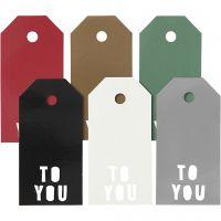 Pakettietiketit, TO YOU, koko 5x10 cm, 300 g, 6x15 kpl/ 1 pkk