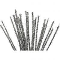 Askartelupunokset, Pit. 30 cm, paksuus 6 mm, kimalle, hopea, 24 kpl/ 1 pkk