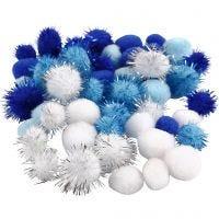 Pompomit, halk. 15+20 mm, vaaleansininen, tummansininen, valkoinen, 48 laj/ 1 pkk
