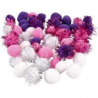 Pompomit, halk. 15+20 mm, violetti, vaaleanpunainen, valkoinen, 48 laj/ 1 pkk