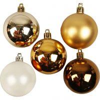 Joulupallot, kullansävyt, halk. 6 cm, kultainen, 20 kpl/ 1 pkk