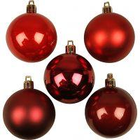 Joulupallot, kullansävyt, halk. 6 cm, punaiset sävyt, 20 kpl/ 1 pkk