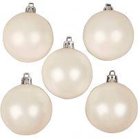 Joulupallot, kullansävyt, halk. 6 cm, valkoinen, helmiäinen, 20 kpl/ 1 pkk