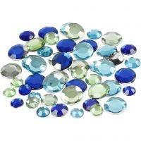 Akryylitimantit, pyöreät, koko 6+9+12 mm, vihreä/sinisävyt, 360 kpl/ 1 pkk