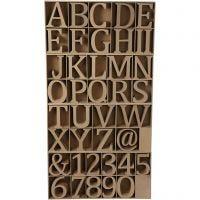 Puukirjaimet, -numerot ja -merkit, Kork. 13 cm, paksuus 2 cm, 160 kpl/ 1 pkk