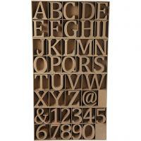 Puukirjaimet, -numerot ja -merkit, Kork. 8 cm, paksuus 1,5 cm, 240 kpl/ 1 pkk
