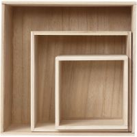 Säilytyslaatikot, neliö, Kork. 15x15+21,5x21,5+28x28 cm, syvyys 12,5 cm, 3 kpl/ 1 set