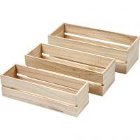 Puulaatikkosarja, Kork. 6,5+7+7,5 cm, Pit. 22+23,5+25 cm, Lev: 7+8,5+10 cm, 3 kpl/ 1 set
