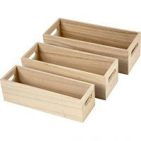 Säilytyslaatikot, Kork. 6,5-7,5 cm, Pit. 22+23,5+25 cm, Lev: 6,5+7,5+8,5 cm, 3 kpl/ 1 set